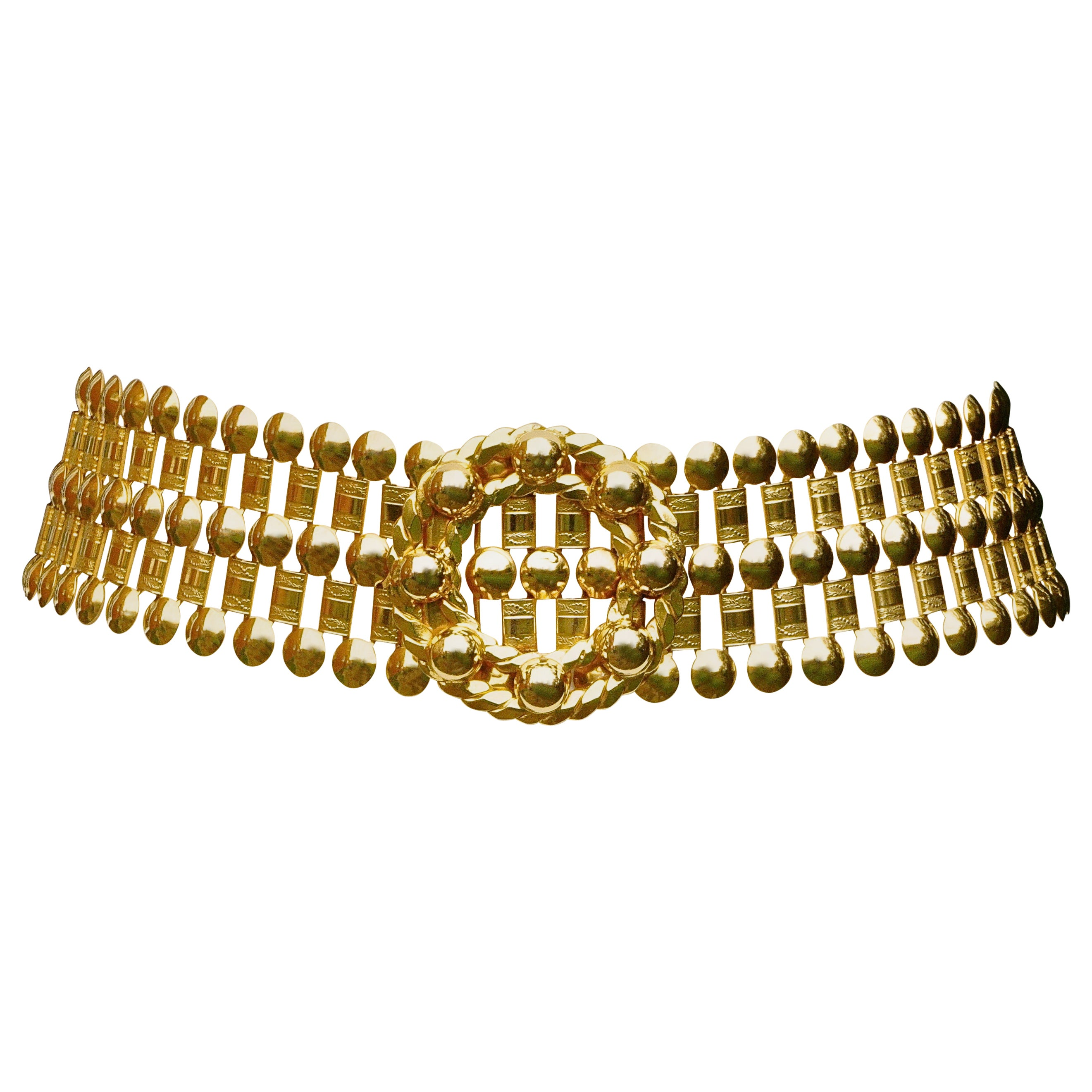 Heavy Wide Gold Plated Belt with a Circular Dome and Rope Twist Buckle