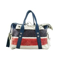 DRIES VAN NOTEN Ivory Multi Color Stripe Ostrich Bag