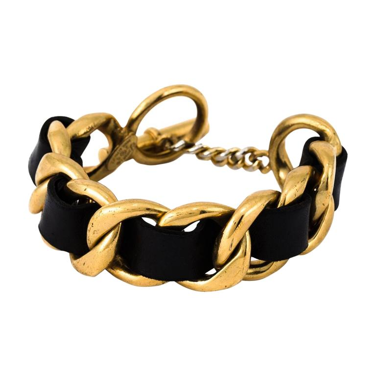 Chanel Gold Leather Chain Bracelet 1