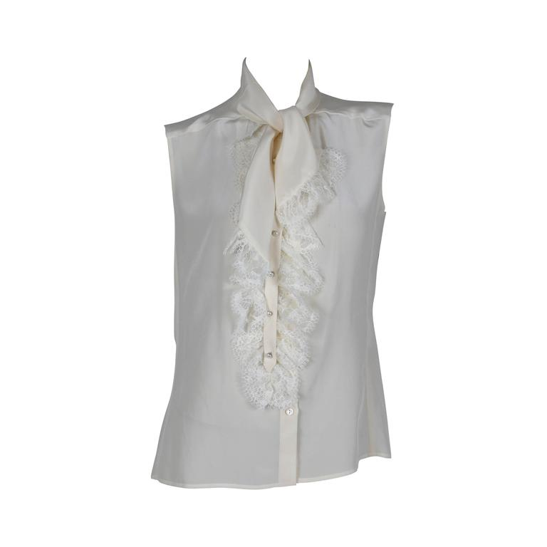 Chanel Off-White Sleeveless Silk Blouse with Lace Jabot Detail Fall 2004 1