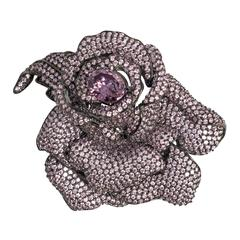 Homage to JAR Exquisite Madame du Barry Faux Lavender Diamond Rose Brooch