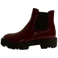 Aquatalia NEW Burgundy Patent Leather Haylie Chelsea Boots sz 8 rt. $495