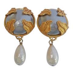 Dominique Aurientis Paris France Couture Pearl Dangle Earrings