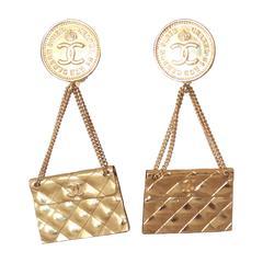 Chanel 1989 Vintage Goldtone Handbag Clip-On Earrings