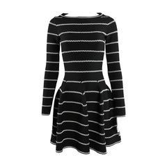 Alaia Black and Silver Striped Stretch Knit Dress