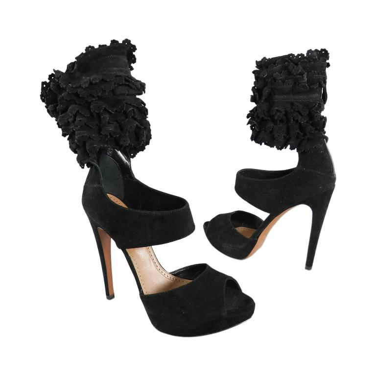 Alaia Black Suede Ruffle Ankle Heels - size 41 1