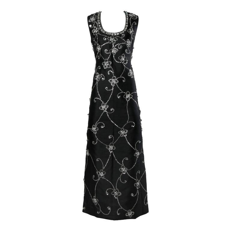 1960s Vintage Silk + Wool Maxi Dress with Crystal Beads, Sequins + Rhinestones