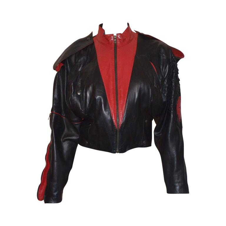 Claude Montana Black and Red Laser Cut Leather Bomber Jacket  For Sale