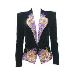 Anna Katramatou velvet sequined evening jacket, c. 1970s