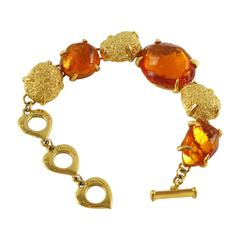 Yves Saint Laurent Paris Link Bracelet gilt metal orange resin cabochon