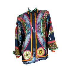 "Hermes Vintage Rare ""Feux d'Artifice"" Anniversary Silk Shirt Blouse"