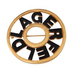 1980s Karl Lagerfeld Signature Gold Tone and Enamel Brooch