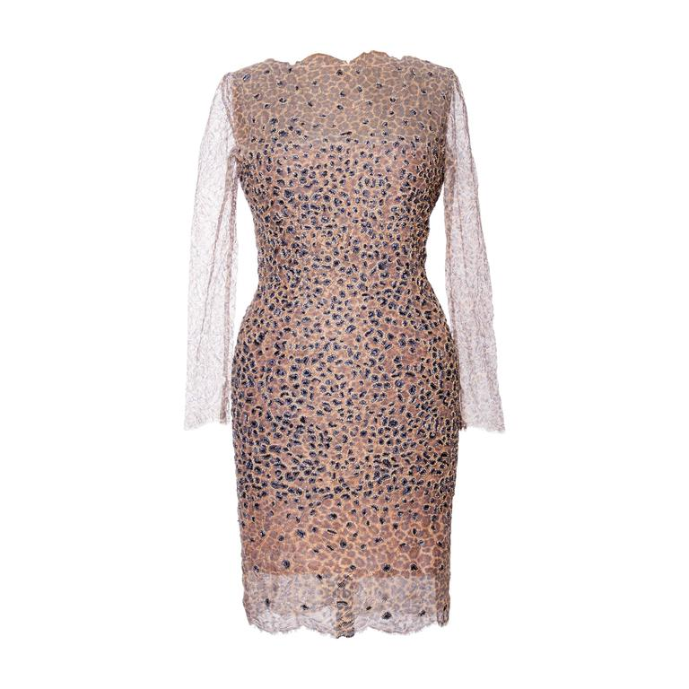 1960s Pierre Balmain Haute Couture Lesage Embroidered Lace Dress 1
