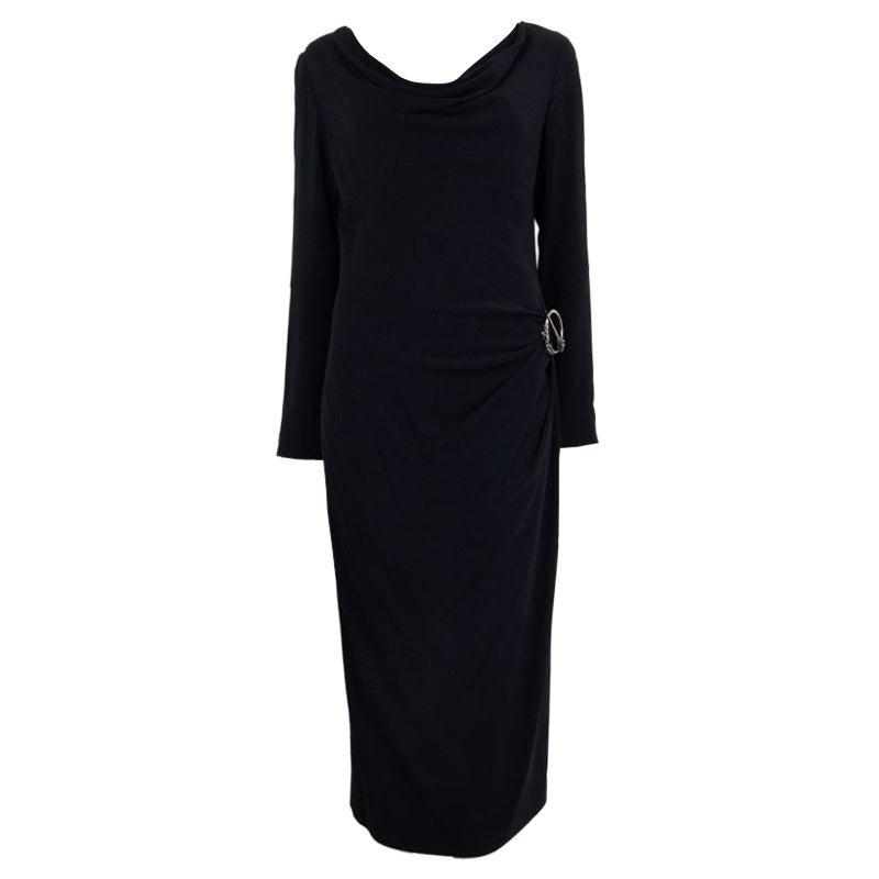 ALEXANDER MCQUEEN black DRAPED Long Sleeve Cowl Neck Dress 44 L