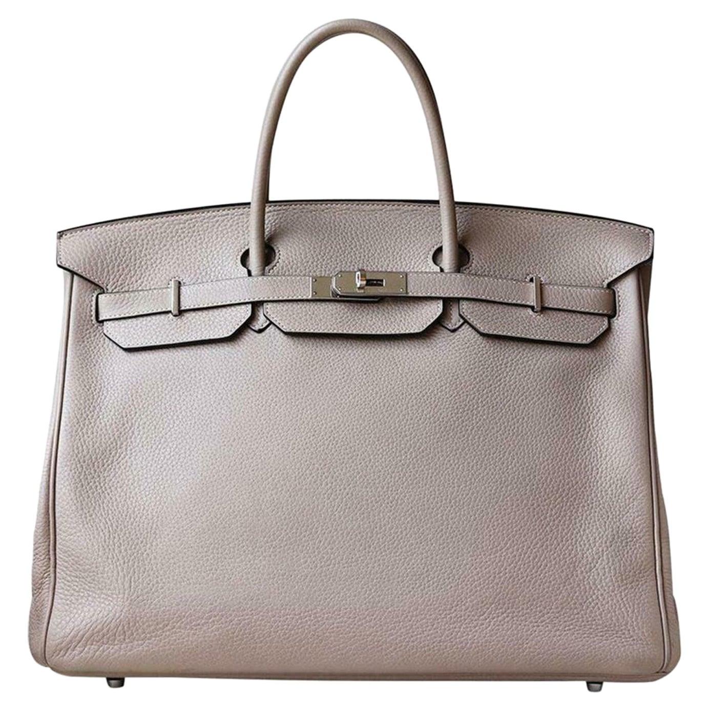 Hermès 40CM Clemence Palladium H/W Birkin Bag
