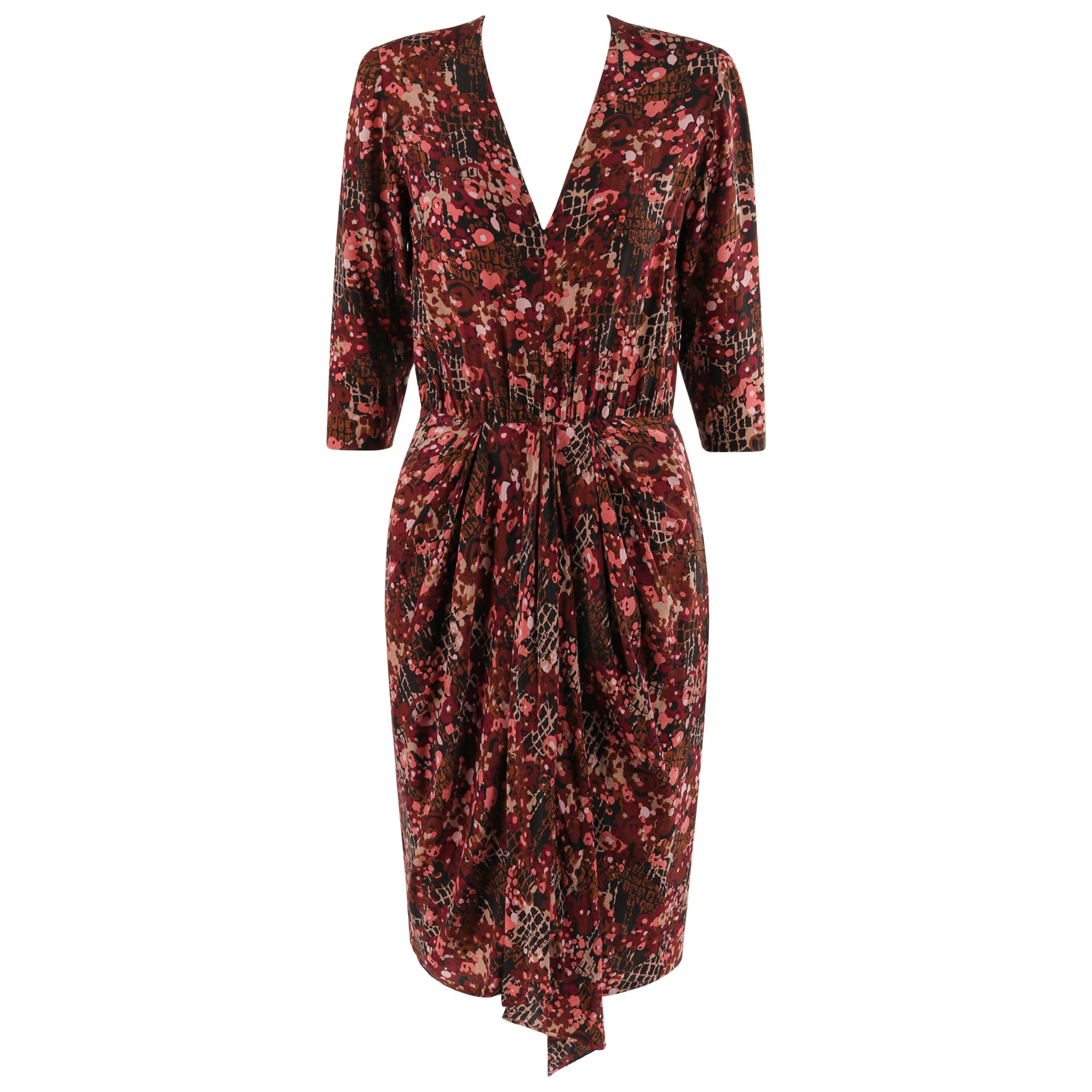 GIVENCHY c.1970's Haute Couture Silk Floral Print Sheath Dress Numbered