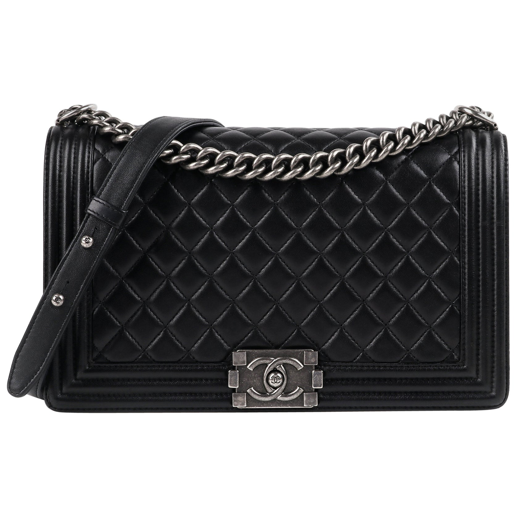 "CHANEL c.2018 ""Boy"" Large Black Quilted Leather Flap Chain Strap Shoulder Bag"