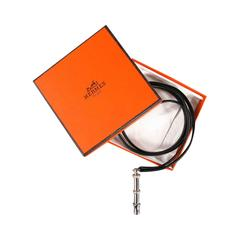 HERMES Black & Silver Whistle Pendant Leather Cord Necklace