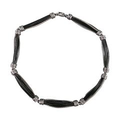 EMPORIO ARMANI Silver & Black Sterling Silver Leather Chain Necklace