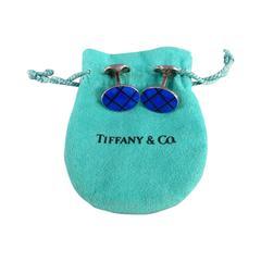 TIFFANY & CO. Blue Sterling Silver Oval Stripe Cuff Links