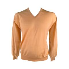 Gianni Versace Peach Nude Wool V Neck Pullover Sweater