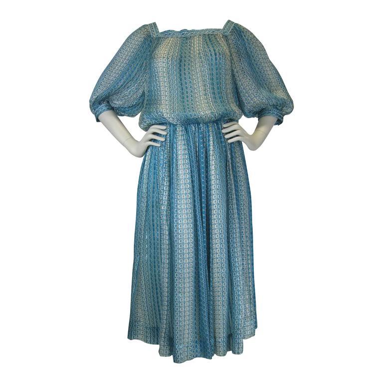 Jean Patou Silk Chiffon Print Dress 1