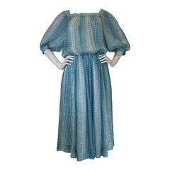 Jean Patou Silk Chiffon Print Dress