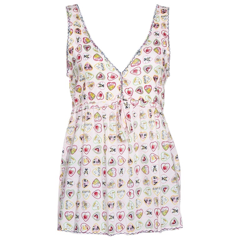 Chanel Pink Valentine Print Ribbed Cotton Sleeveless Top L