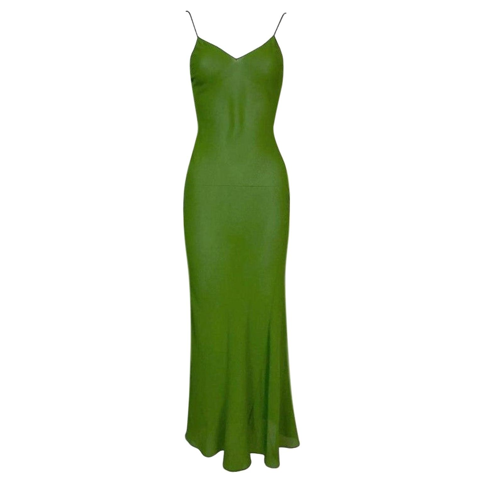 F/W 1999 John Galliano Sheer Green Silk Maxi Slip Dress