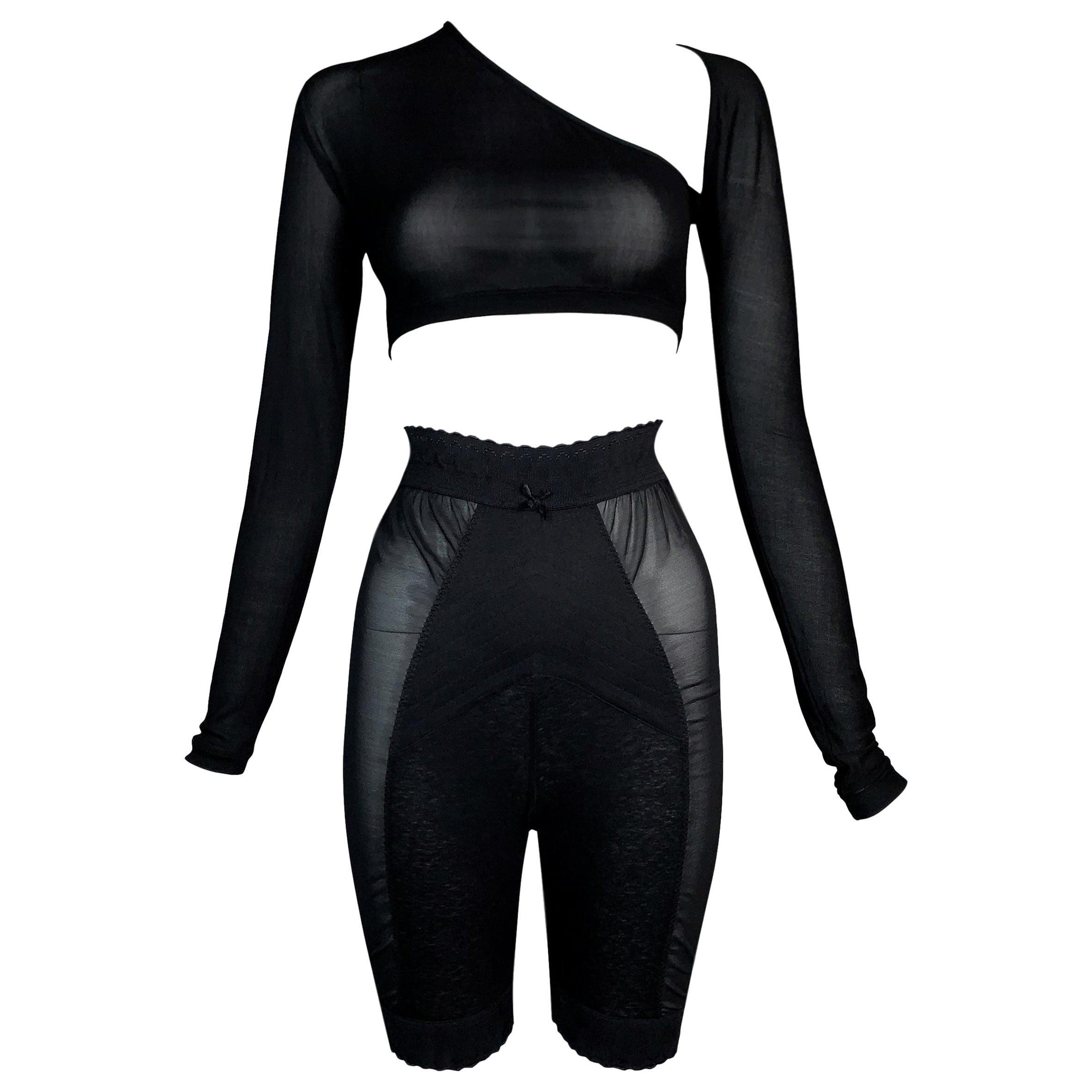 1990's Jean Paul Gaultier Sheer Black Crop Top & High Waist Pin-Up Shorts