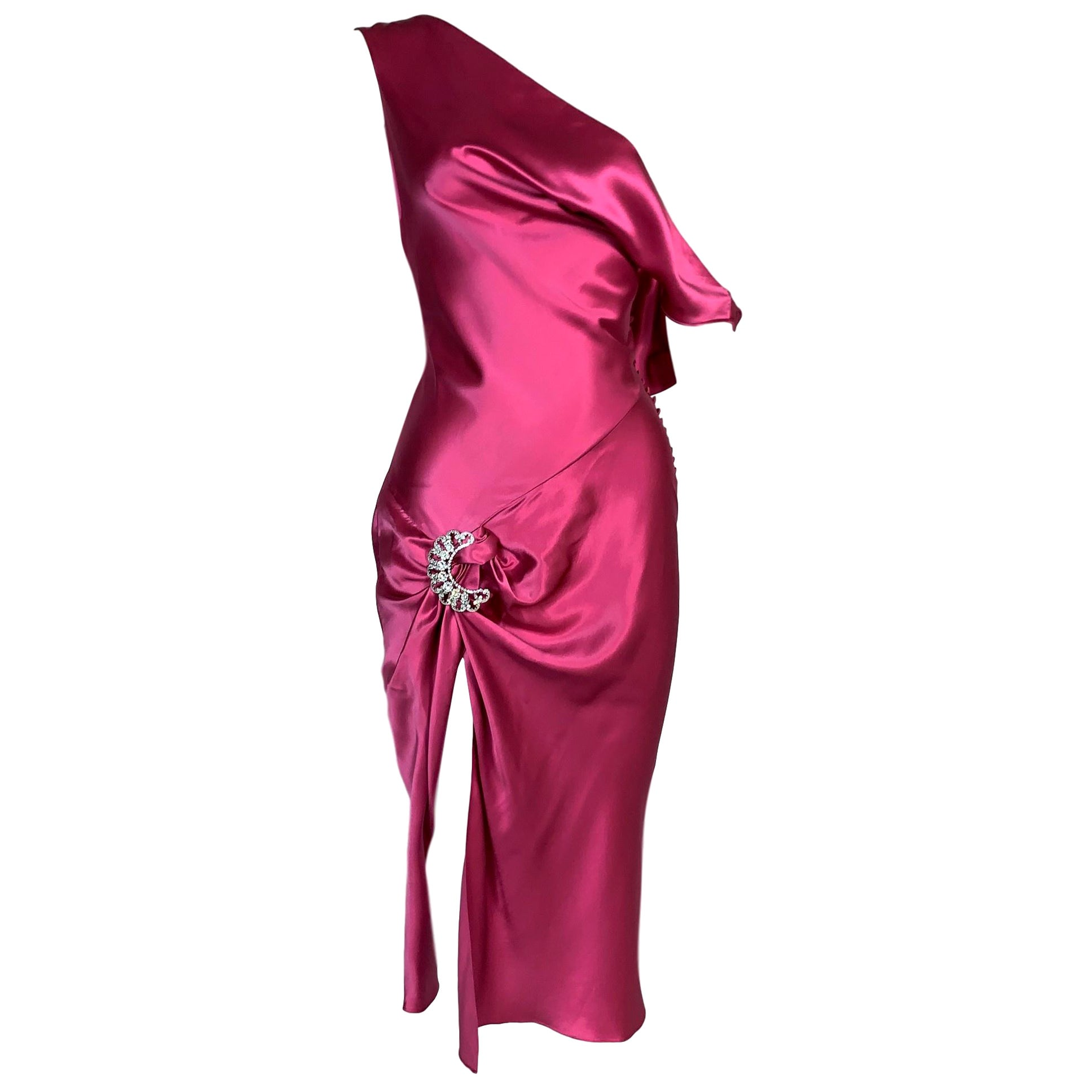 F/W 2004 Christian Dior John Galliano Hot Pink Satin High Slit Dress