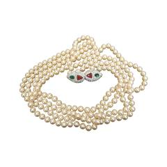 Opulent Opera Length Glass Pearls by Les Bernard