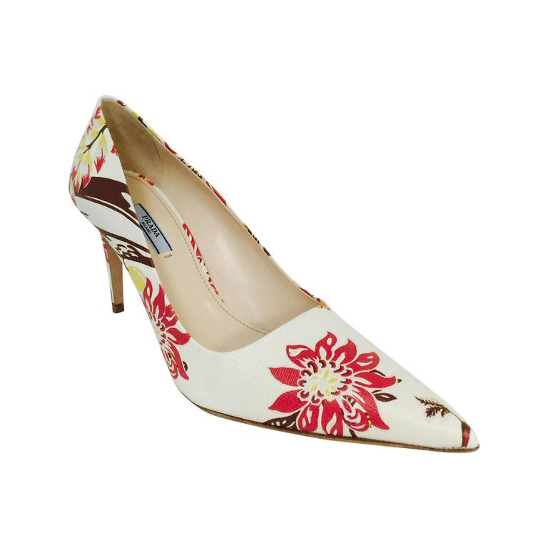 New Prada Floral Print Saffiano Leather Pointed Toe High Heel Pumps For Sale