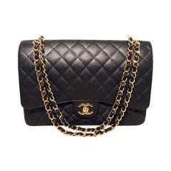 Chanel Black Caviar Maxi Double Flap Classic 2.55 Shoulder Bag