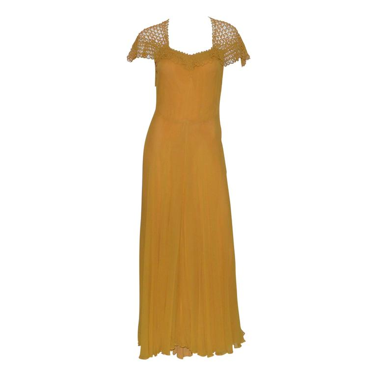 Vintage 1930's Golden Yellow Crochet Long Gown Great Back Detail