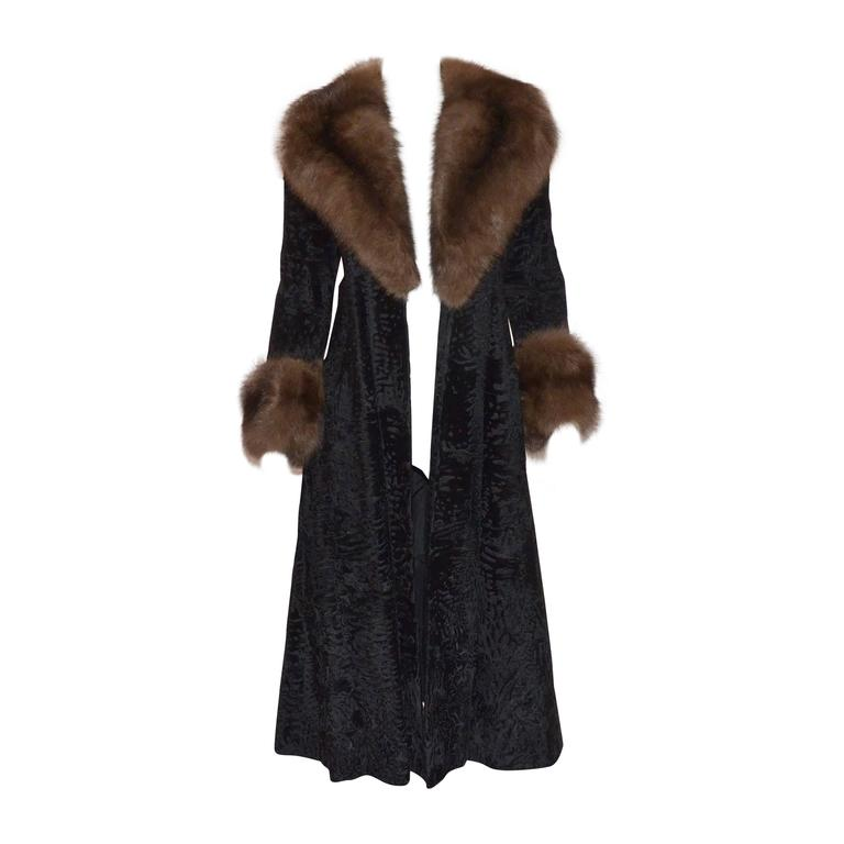 Christian Dior Furs I. Magnin Vintage Broadtail Coat Sable Collar Trim 1