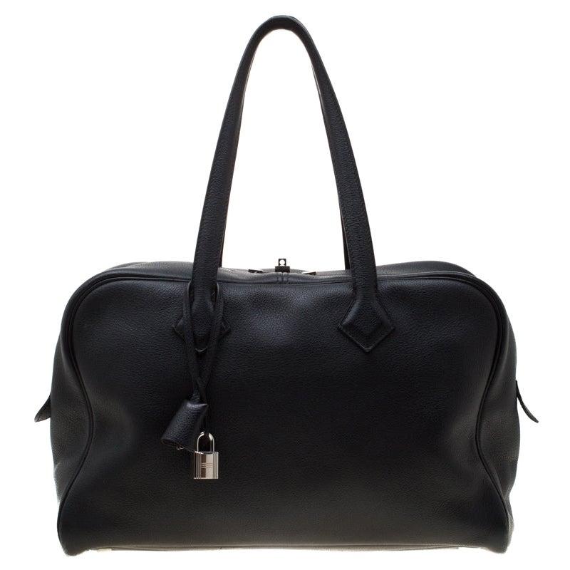 Hermes Black Leather Victoria II Fourre Tout 35 Bag