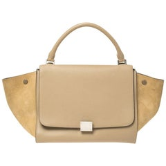 Celine Beige Leather and Suede Medium Trapeze Bag