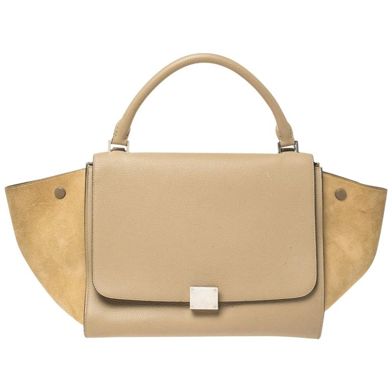 Celine Beige Leather and Suede Medium Trapeze Bag For Sale