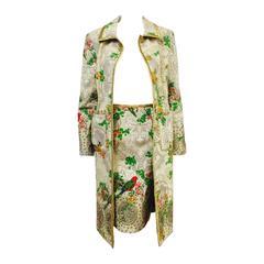 New Lela Rose Long Coat and Skirt Ensemble With Iridescent Metallic Gold Trim