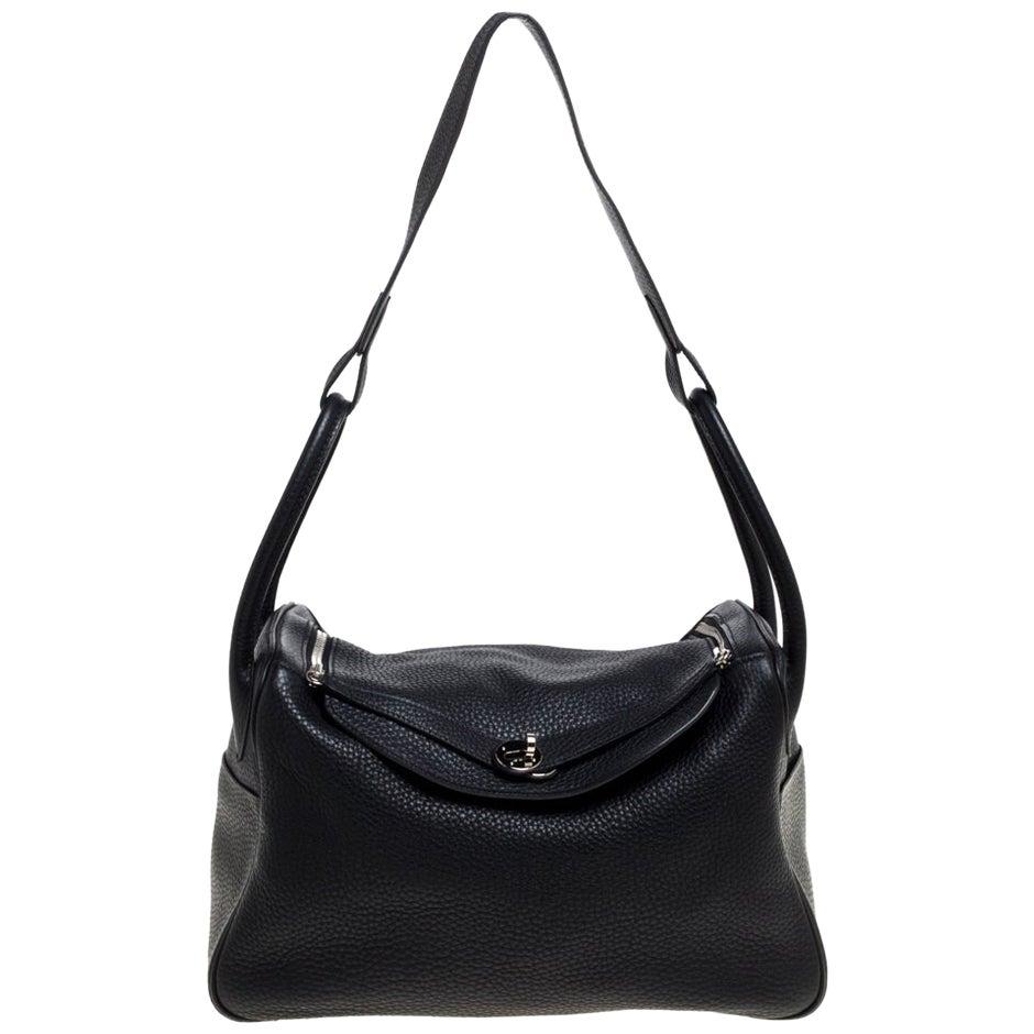 Hermes Black Taurillon Clemence Leather Palladium Hardware Lindy 34 Bag