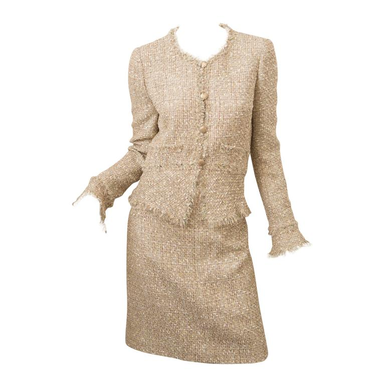 Chanel Gold Tweed Skirt Suit For Sale