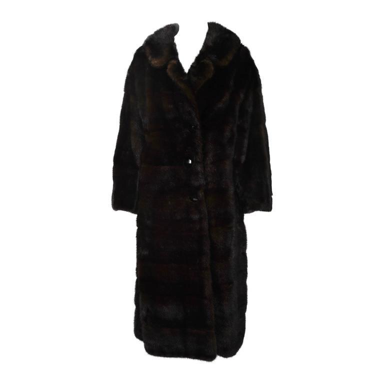 Horizontal Mahogany Mink Coat For Sale