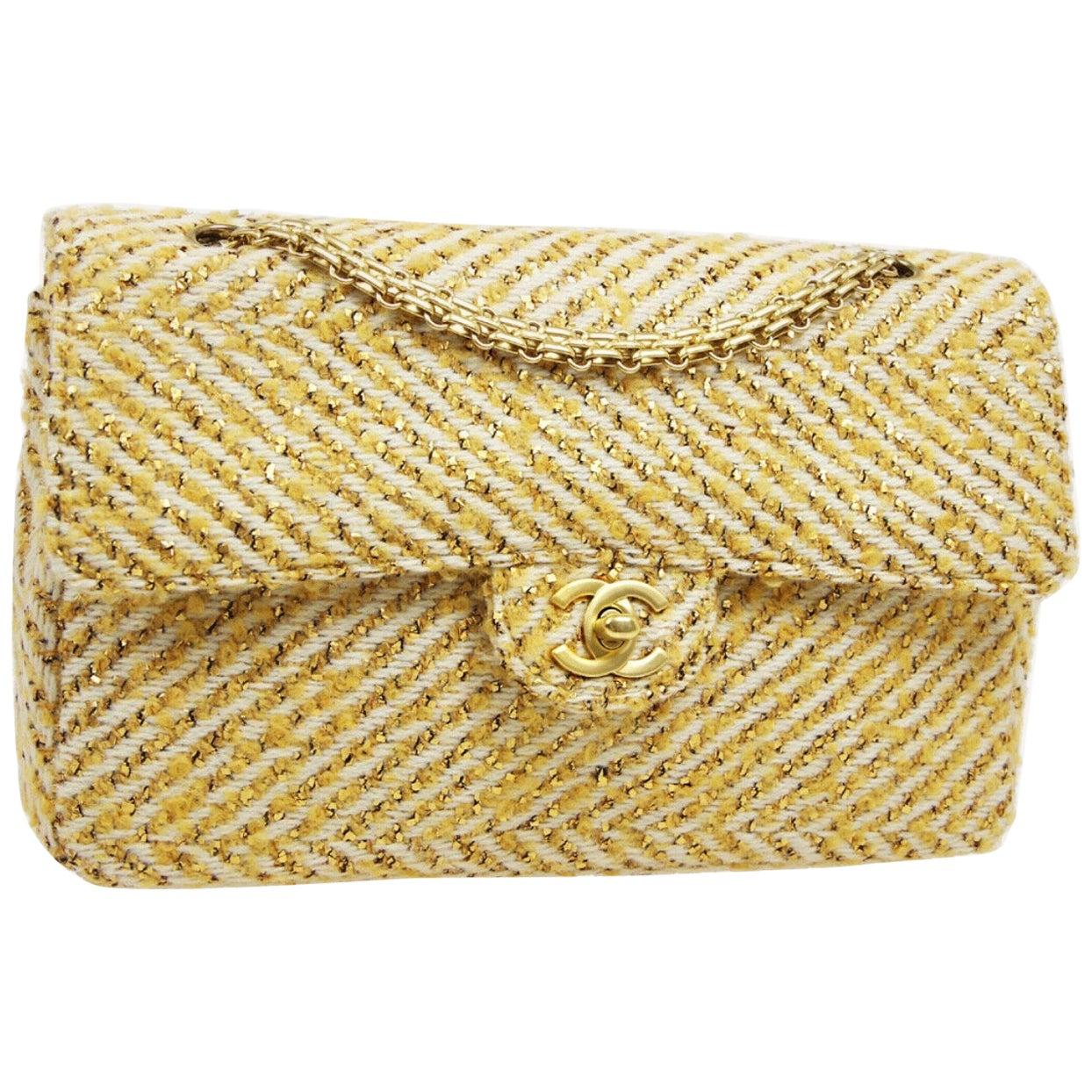 Chanel Yellow Tweed Gold Medium Evening Shoulder Flap Bag in Box