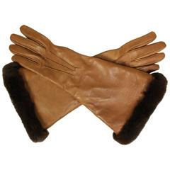 Hermes Lambskin Gauntlet Gloves with Fur Trim
