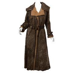 Giuliana Teso Broadtail Coat With Belt And Gold Hardware