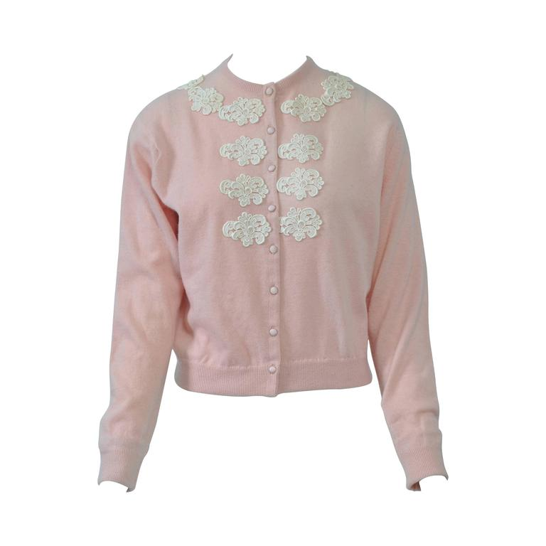 Pink Cashmere Cardigan with Lace Appliqués