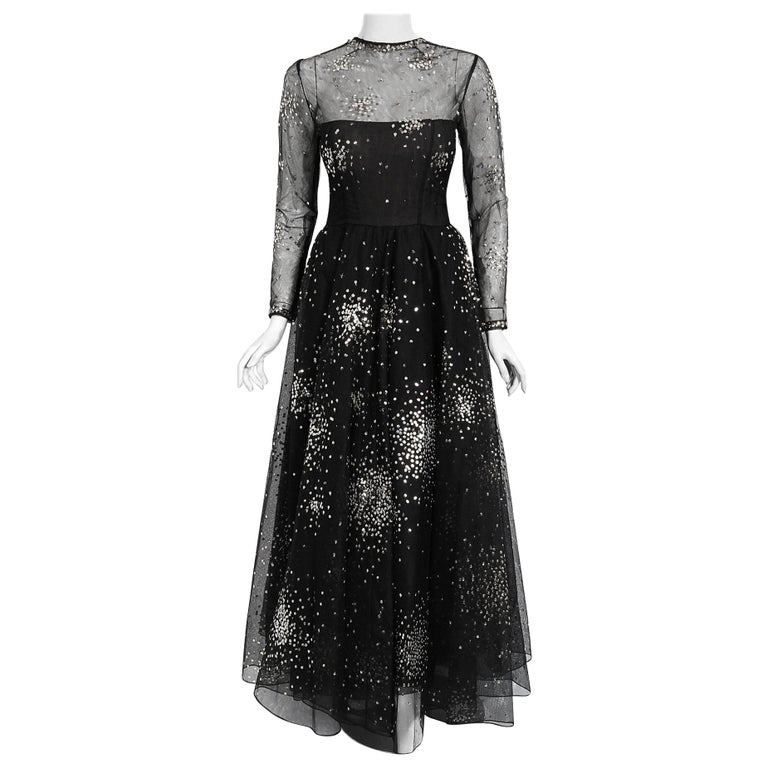 Vintage 1960 Norman Norell Sequin Star Novelty Black Sheer Illusion Tulle Gown For Sale