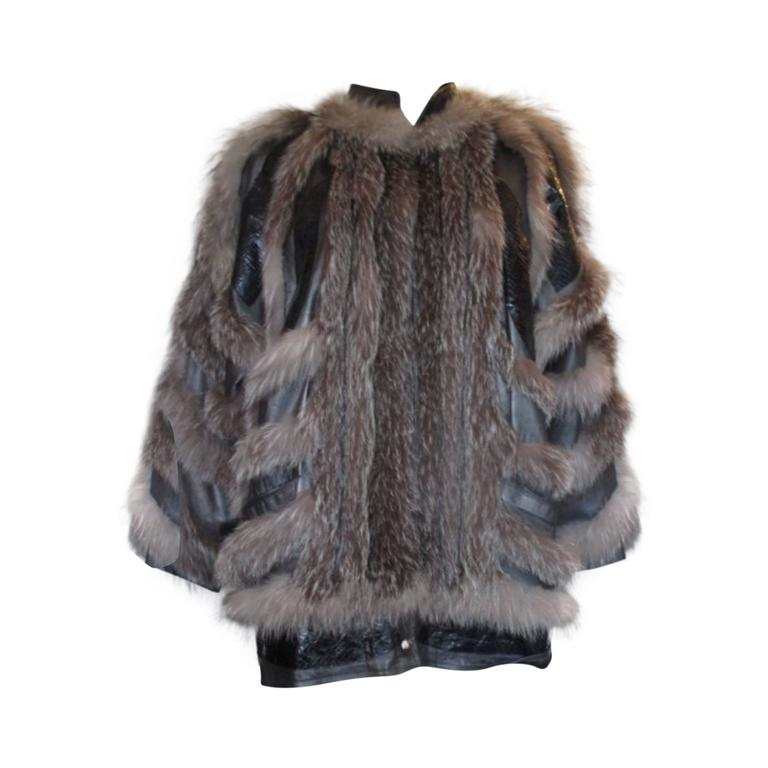 Funky silver fox fur jacket with leather and python