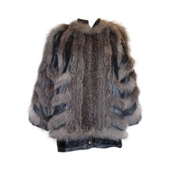 Funky Silver Fox Fur Leather Jacket